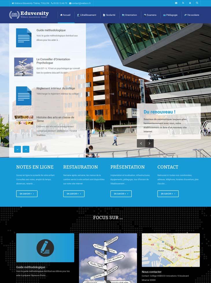Modèle de site Eduversity